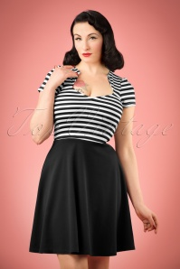 50s All Angles Striped Swing Dress in Black and White