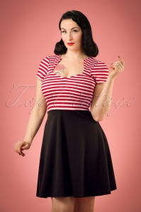 50s All Angles Striped Swing Dress in Red and White