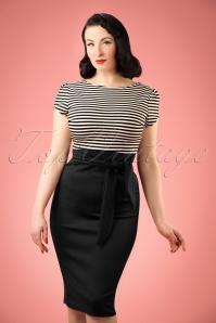 TopVintage Exclusive ~ Rebecca Stripes Pencil Dress Années 50 en Noir et Blanc
