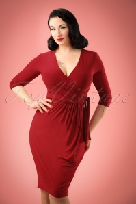 50s Layla Cross Over Pencil Dress in Dark Red