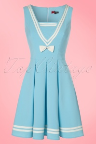 50s Sailors Ruin Dress in Light Blue