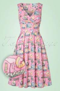 50s Maxine Flamingo Swing Dress in Pink