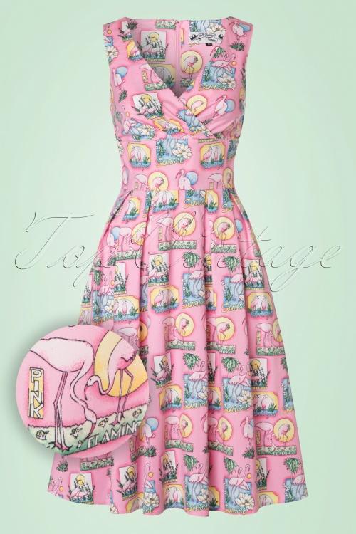 Bunny Maxine 50s Pink Flamingo Dress 102 29 21079 20170323 0002W1