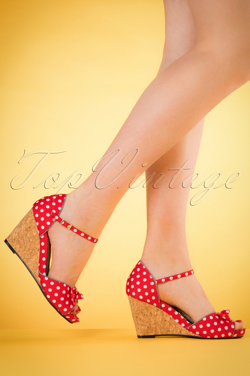 Pin Up Shoes- Heels & Flats 60s Molly Polkadot Wedges in Red £59.41 AT vintagedancer.com