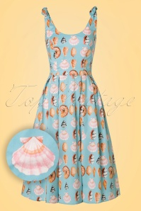 50s Maya Bay Swing Dress in Light Blue