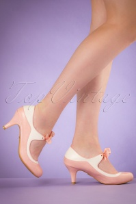 Lulu Hun 50s Jeannie Pumps in Pink and White
