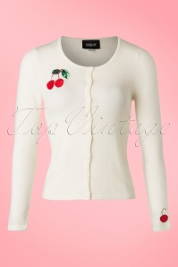 50s Jo Cherry Cardigan in Ivory