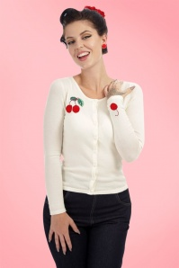 Collectif Clothing Jo 50s Cherry Cardigan in Ivory 20641 20161125 01