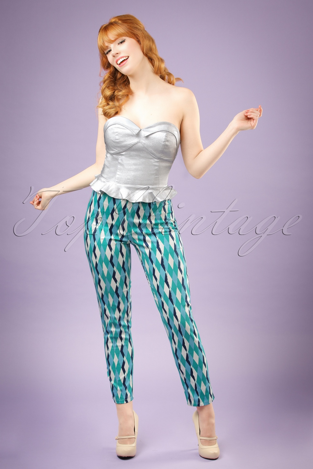 Retro Pants & Jeans 50s Bonnie Atomic Harlequin Trousers in Blue and Jade £46.61 AT vintagedancer.com