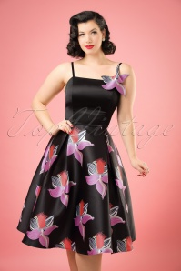 50s Linette Orchid Swing Dress in Black