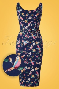 Collectif Clothing Ines Charming Bird Pecnil Dress Navy 20821 20161129 0003W1
