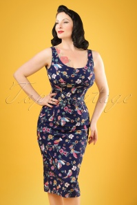 50s Ines Charming Bird Pencil Dress in Navy