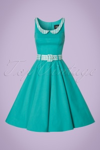 Collectif Clothing Kitty Gingham Jade Swing Dress 102 40 20692 20170322 0005W