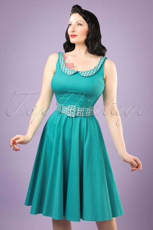 50s Kitty Gingham Swing Dress in Jade Green