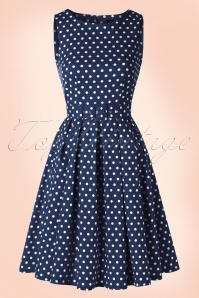 50s Lola Polkadot Swing Dress in Navy