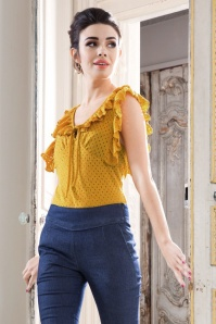 50s Louis Ruffled Top in Yellow