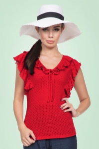 50s Maria Ruffled Top in Red