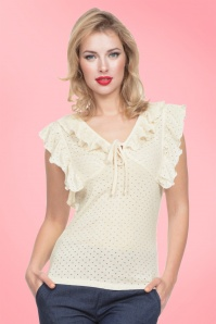 50s Francine Ruffled Top in Cream
