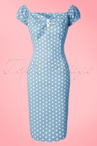 Collectif Clothing Dolores Vintage Polkadot Pencil Dress Blue 14739 20141214 0002 PolkadotW