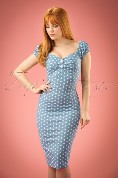 Collectif Clothing Dolores Vintage Polkadot Pencil Dress Blue 14739 20141214 01W