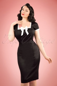60s Lysa Pencil Dress in Black
