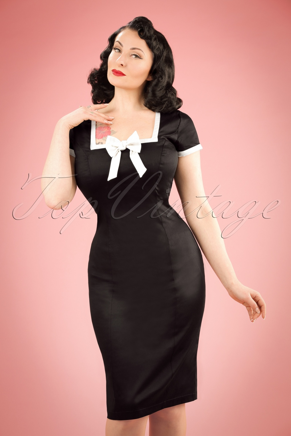 1960s Style Dresses- Retro Inspired Fashion 60s Lysa Pencil Dress in Black £20.30 AT vintagedancer.com