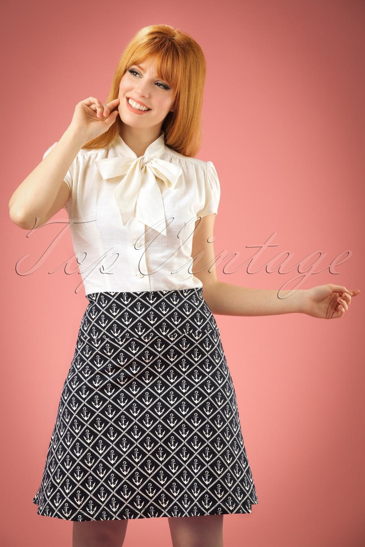 1960s Style Skirts 60s Nautique Borderskirt in Nuit Blue £51.50 AT vintagedancer.com