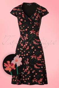 King Louie Gina Dress in Black with Flowers 100 14 20189 20170119 0004wv