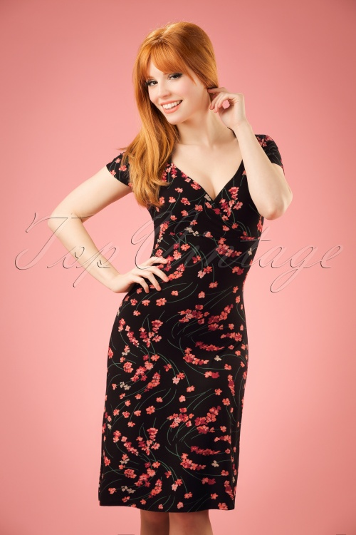King Louie Gina Dress in Black with Flowers 100 14 20189 20170119 01W