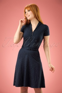 40s Emmy Little Dots Dress in Nuit Blue