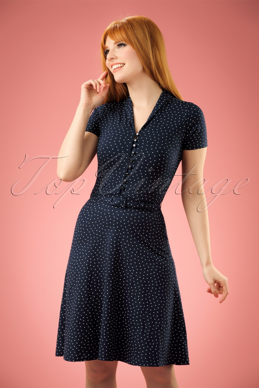 1950s Polka Dot Dresses 40s Emmy Little Dots Dress in Nuit Blue £84.89 AT vintagedancer.com