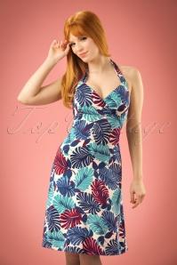 60s Tropicana Halter Dress in Cream