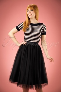 50s Edie Tulle Swing Skirt in Black