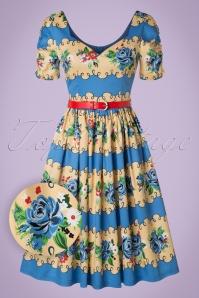 Lindy Bop Francine Blue Rose Swing Dress 102 39 21453 20170301 0011w