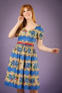 50s Francine Roses Swing Dress in Blue and Sand