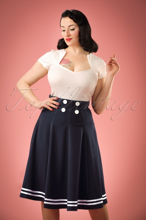 Miss Candyfloss 50s Mollys Sailor Skirt Ahoy Navy 51 4571 20130311 1W