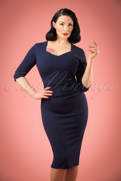 Vintage Chic Sweet Heart Blue Pencil Dress 21188 20161031 004W