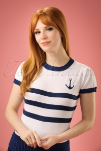 50s Parker Sailor Sweater in White and Blue