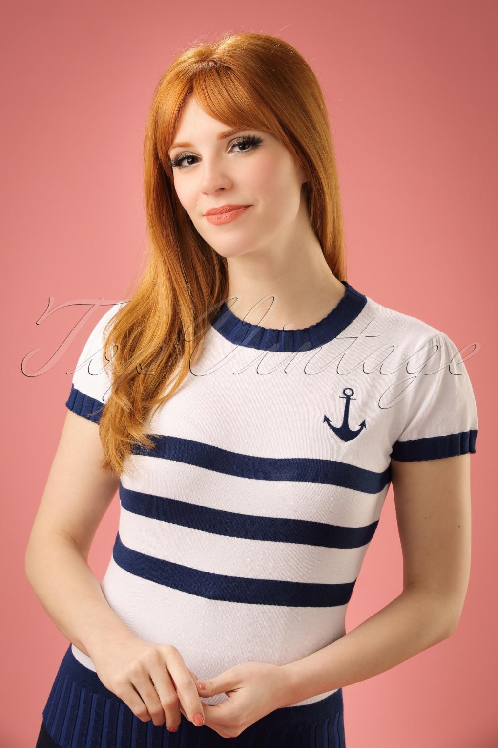 1950s Style Sweaters, Crop Cardigans, Twin Sets 50s Parker Sailor Sweater in White and Blue £35.08 AT vintagedancer.com