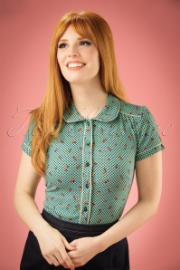 60s Blush Blouse in Para Green