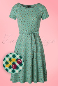 King Louie Green Skater Dress Cherry's  102 49 20246 20170301 0003W1