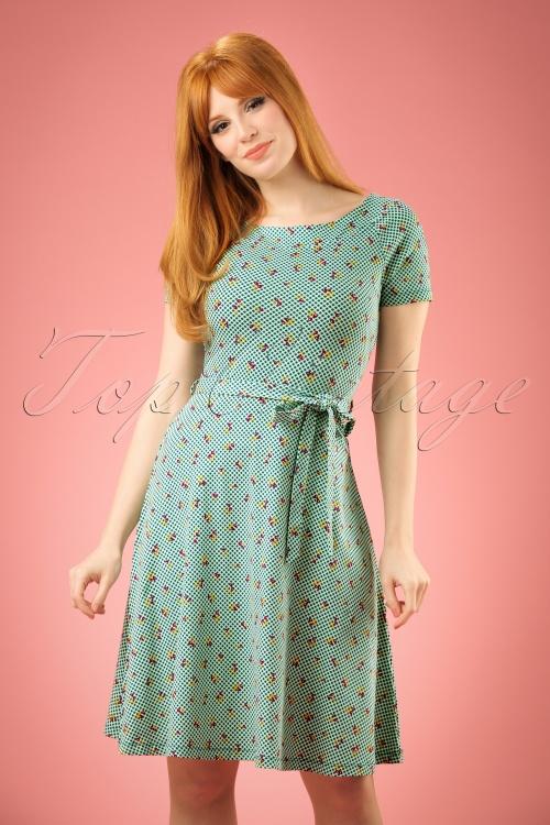 King Louie Green Skater Dress Cherry's  102 49 20246 20170301 01W