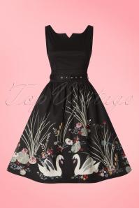 Lindy Bop Delta Swan Border Swing Dress 102 10 21236 20170301 0019w
