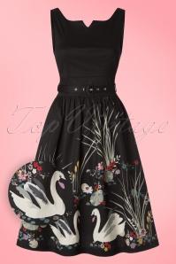 Lindy Bop Delta Swan Border Swing Dress 102 10 21236 20170301 0014wv