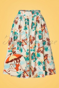 Vixen Lene Tropical Beige Swing Skirt 122 57 20464 20170324 0003wv