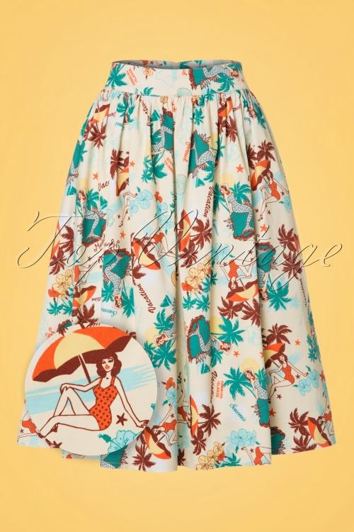Vixen Lene Tropical Beige Swing Skirt 122 57 20464 20170324 0003wv