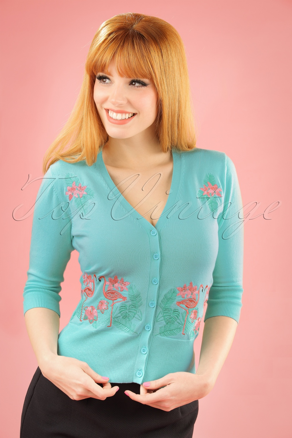 1950s Style Sweaters, Crop Cardigans, Twin Sets 50s Face To Face Flamingo Cardigan in Light Blue £20.29 AT vintagedancer.com