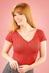 60s Fara Deep V Top in Cayenne Pink