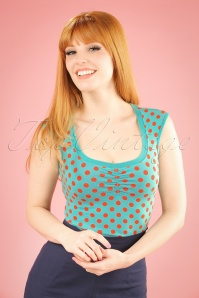 50s Darling Berry Dots Top in Aqua Blue