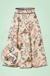 50s Marienne Swing Skirt in Cream